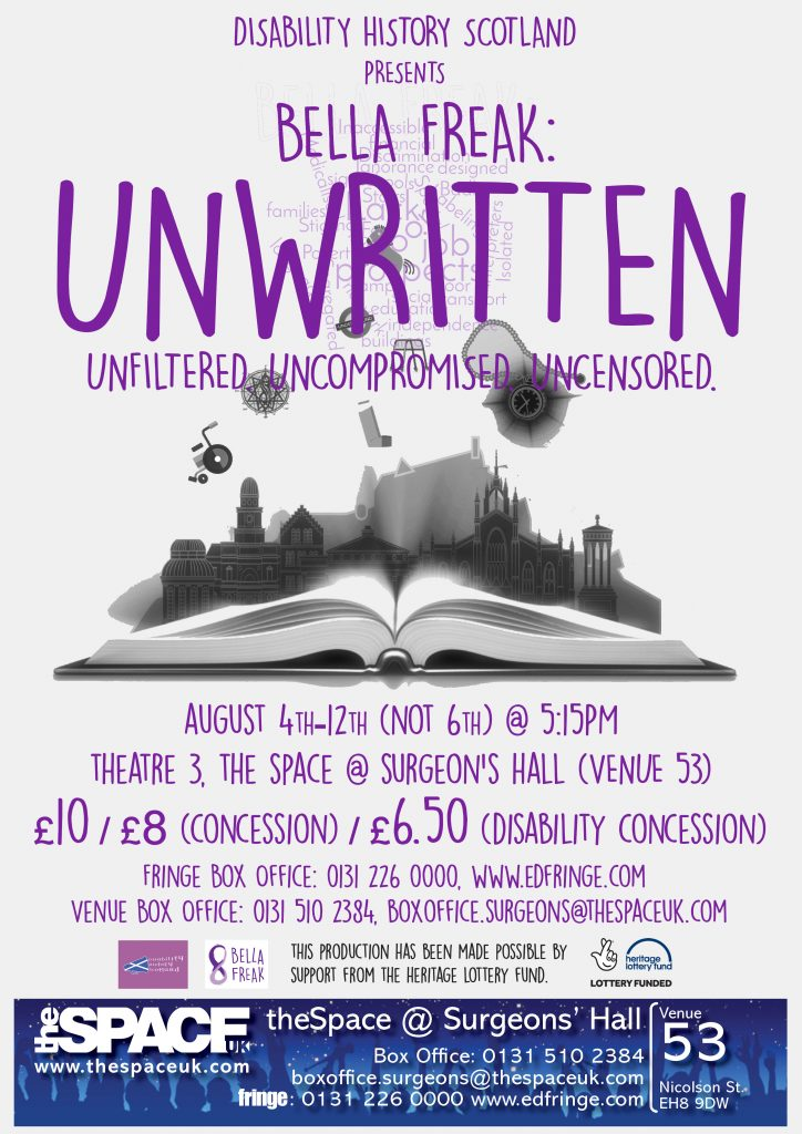 Edinburgh Fringe poster for BELLA FREAK: UNWRITTEN.